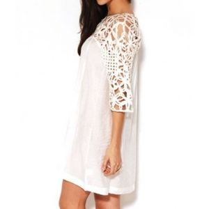 AKIRA Chicago crochet silk white dress